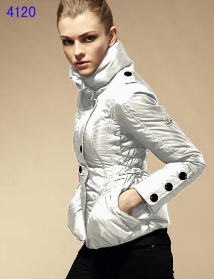 Moncler Down Jackets Womens Stand Collar White