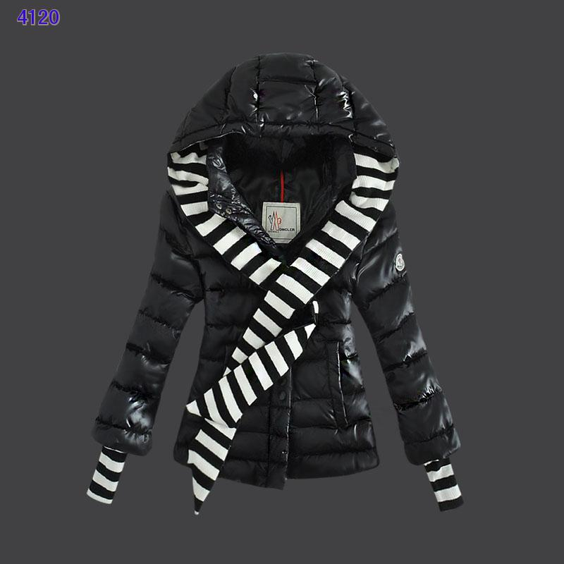 Moncler Jacket Women Single Breasted Hooded Black