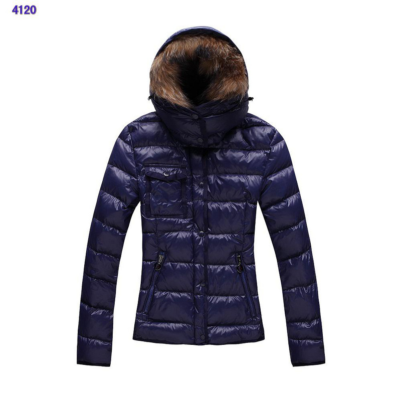 Moncler Jackets For Women Detachable Cap Blue
