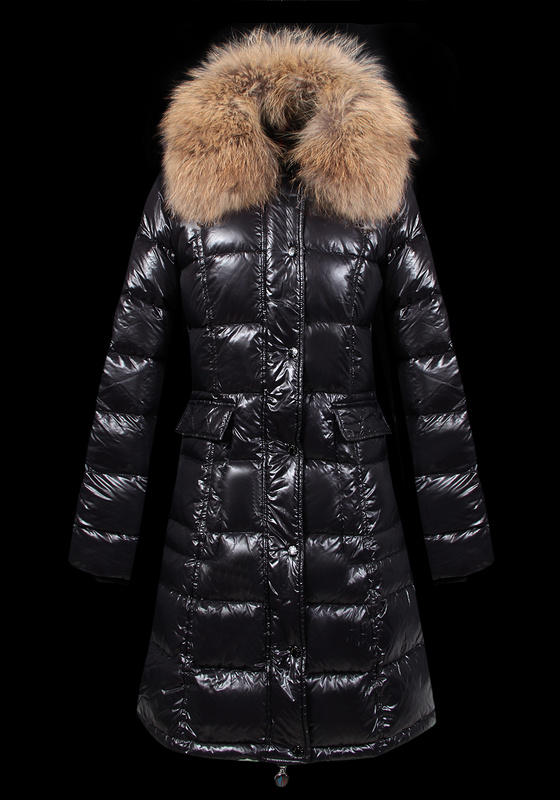 Moncler Long Women Down Coats Black Sale