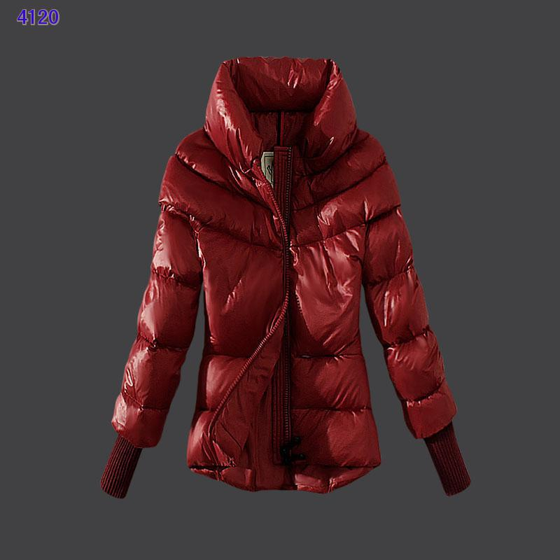 Moncler Windproof Womens Jackets Stand Collar Red