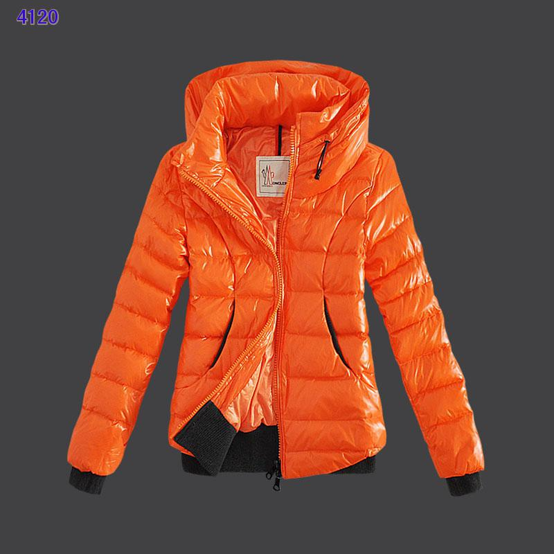 Moncler Winter Jackets Womens Zip Stand Collar Orange
