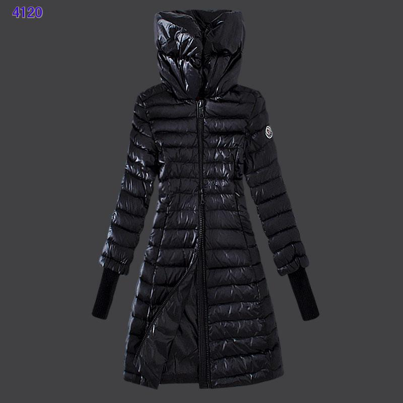 Moncler Women Coat High Stand Collar Windproof Black