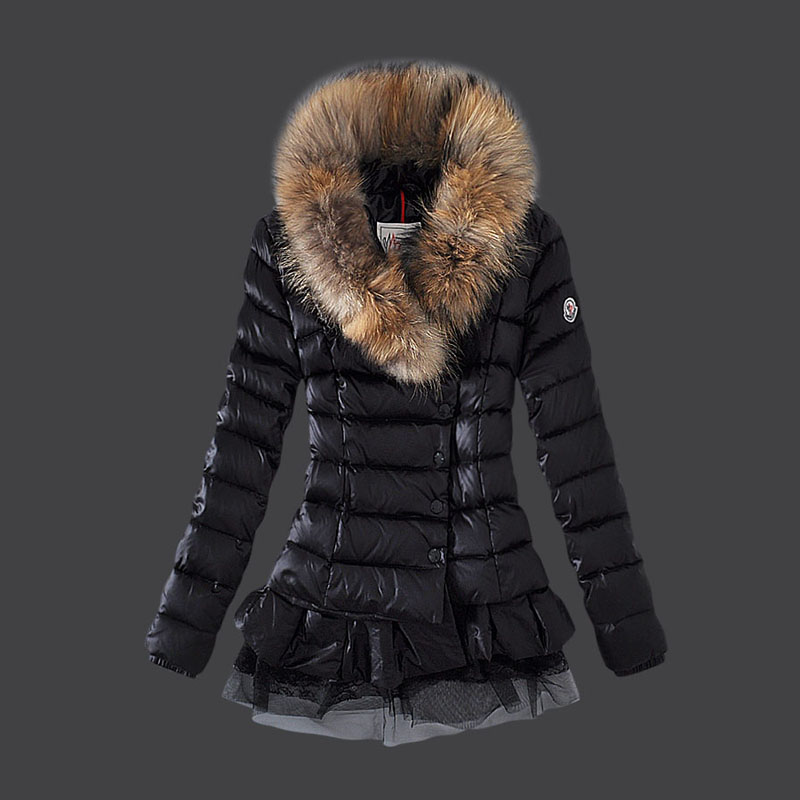 Moncler Women Down Jacket Single Breasted Lace Black