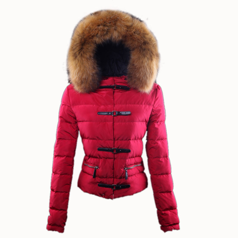 Moncler Women's Fur Collar Red