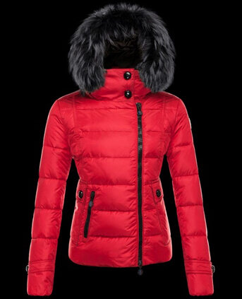 Moncler Women Jacket Fur Hood Bryone Jacket Red