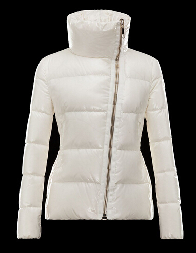 Moncler Womens ILAY Col Zip Winter Coats White