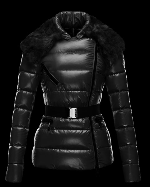 Moncler Women's Down Jacket Black Fur Collar