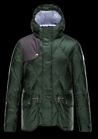Moncler Down Jacket Blue Coat Men Winter Hooded Green