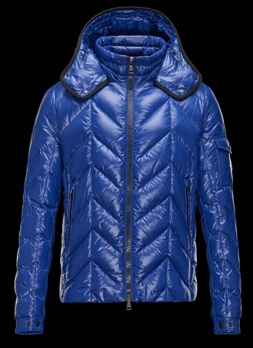 Moncler Men's Down Jacket BERRIAT Quilted Hoodie Blue