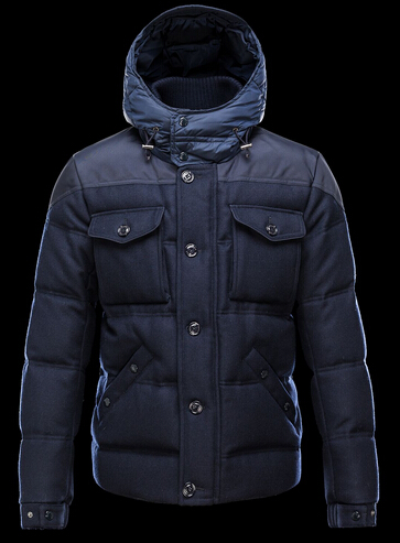 Moncler REPUBLIQUE Men Short Jacket Hooded Blue