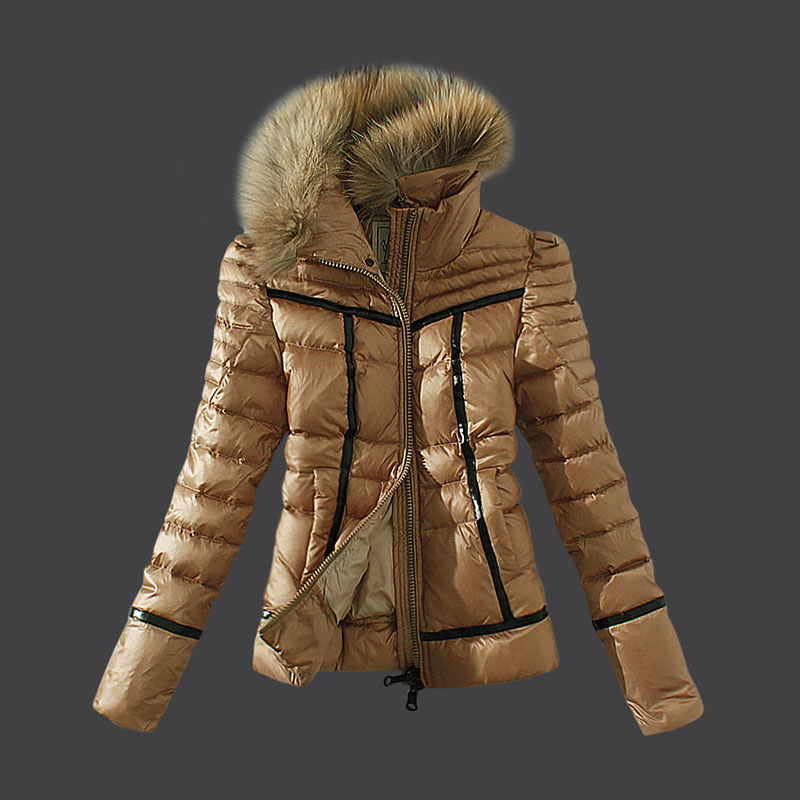 Moncler Down Jackets Women Fur Collar Brown