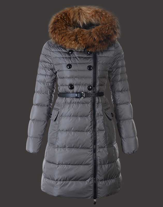 Fashion Moncler Herisson Coat Womens Long Gray