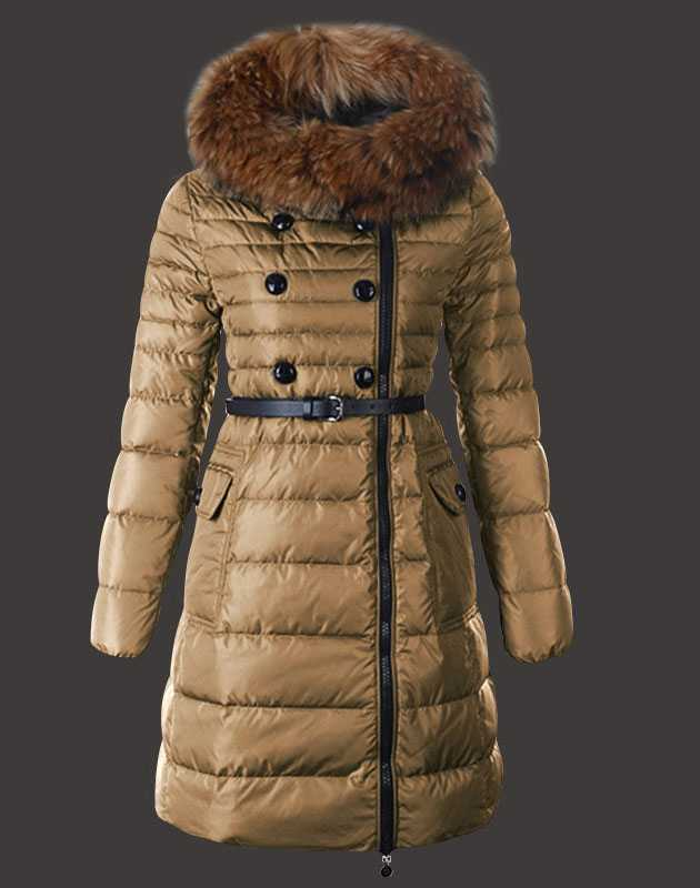 Fashion Moncler Herisson Coat Womens Long Khaki