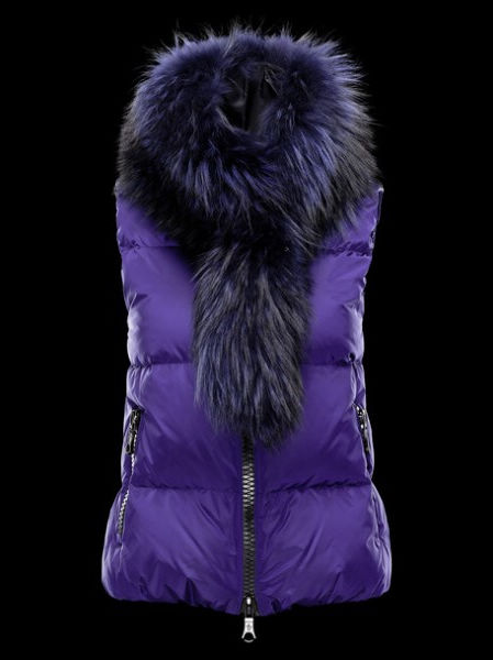 Femm Moncler Jacket Sleeveless Blue Fur Collar
