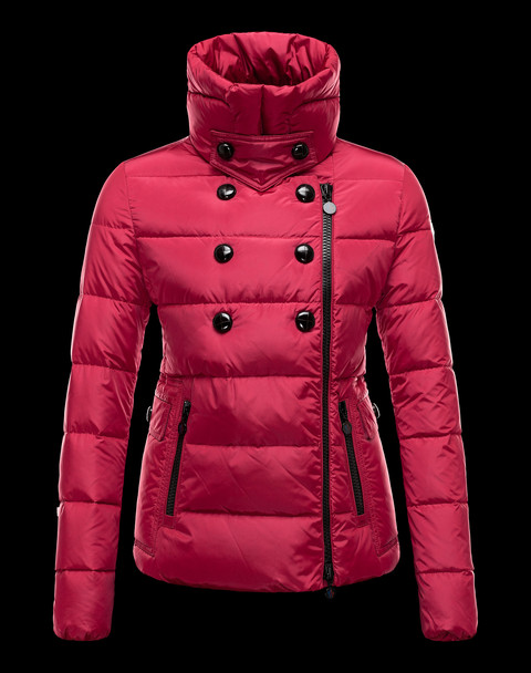 Moncler Women's Suede Down Jacket Red Down Jackets