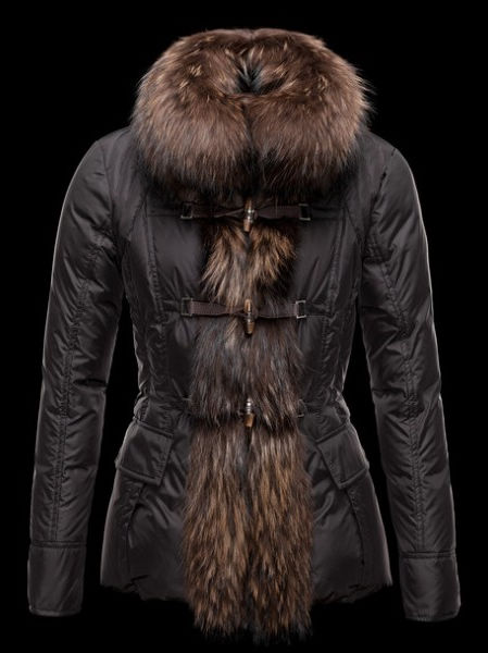 Womens Moncler Down Jacket Fur Black Jacket Winter