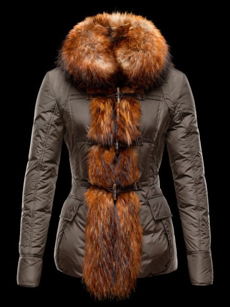 Womens Moncler Down Jacket Fur Coat Green Winter Jacket