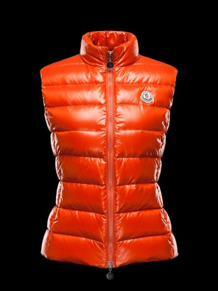 Women Moncler Coat Gilet Ghany Orange