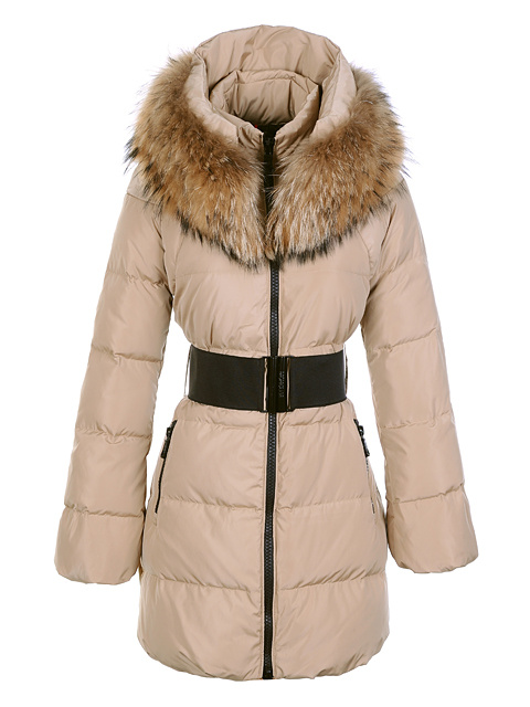 Womens Moncler Wild Coats Fur Collar Khaki