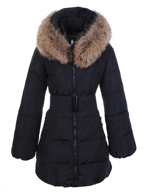 Womens Moncler Wild Coats Fur Collar Black
