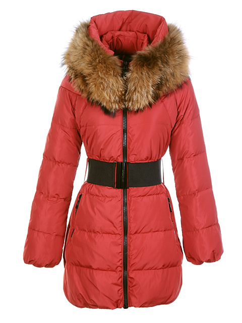 Womens Moncler Wild Coats Fur Collar Red