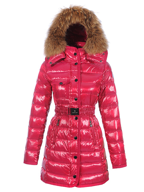 Women Moncler Mugwort Coats Fur Hat Belt Rou