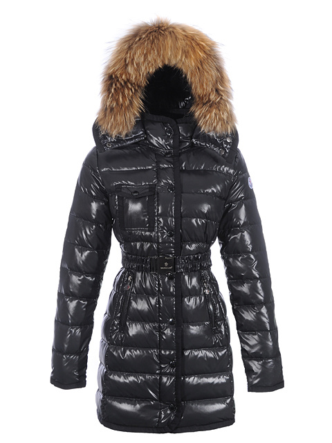 Women Moncler Mugwort Coats Fur Hat Black Belt