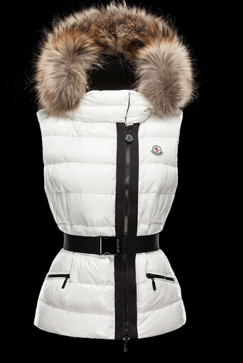 Moncler Vest RUE Down Jacket Women Hooded Fur White