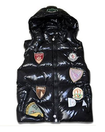Moncler Vest Multi logo K2 Men Hood Black