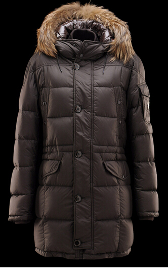 Men Moncler Gabriel Down Coat Hooded Jacket Brown Coat