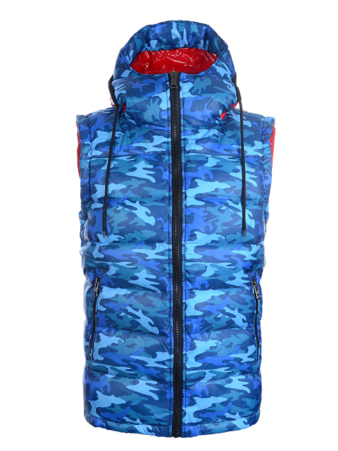 Moncler Men Vest Blue Sleeveless Hooded Vest