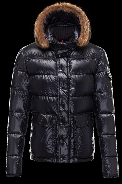 Men Moncler Hubert Down Coat Hooded Blue