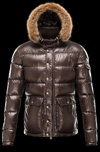 Men Moncler Hubert Down Coat Hood Brown