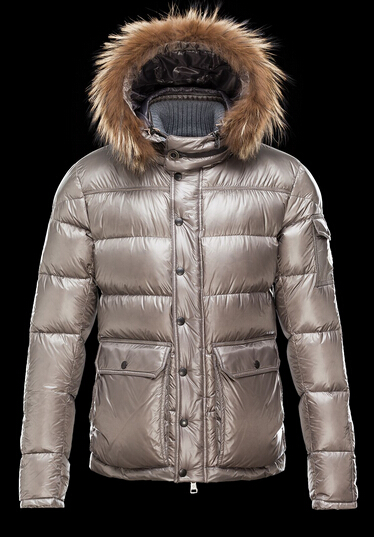 Men Moncler Hubert Hooded Down Jacket Fur Gray