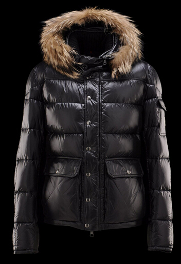 Men Moncler Hubert Down Coat Hood Black
