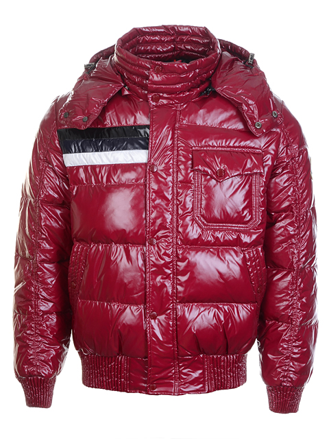 Moncler Men Jackets Glossy Red Smooth Fabric