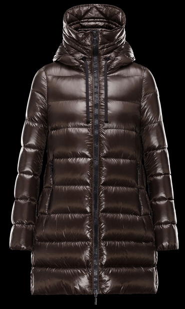 Moncler Women's Suyen Long Hooded Down Jacket Brown