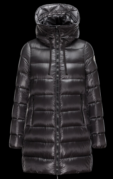 Moncler Women's Suyen Long Hooded Down Jacket Gray