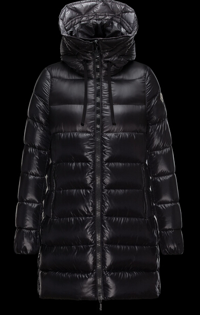 Moncler Women's Suyen Long Hooded Down Jacket Black