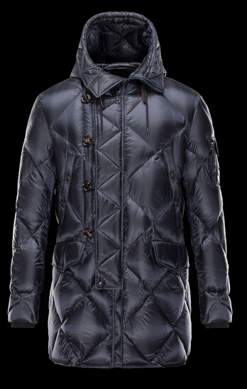 Moncler Coat EDWIN Long Sleeve Men Hooded Jacket Blue