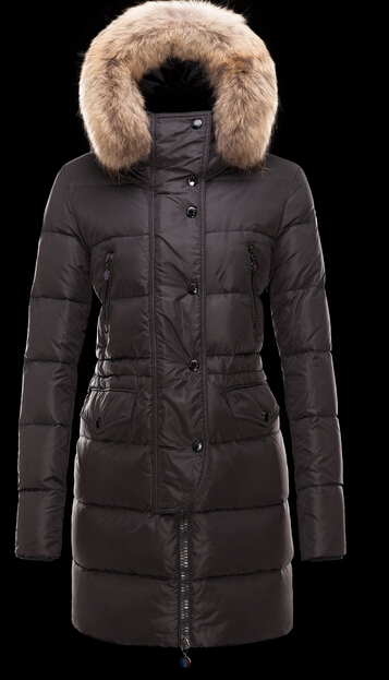 Moncler Coat FRAGON Fur Hood Womens Down Coat Black