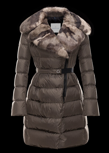 Moncler Women's Coat CHAUVET Faux Fur Collar Brown