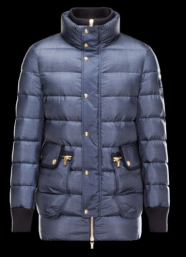 Moncler Coat Blue Long Blue Doudoune Coat