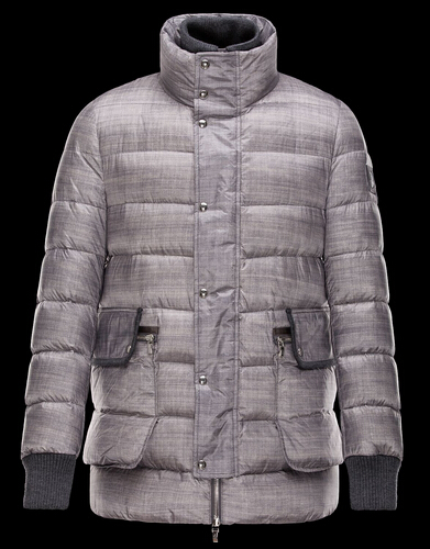 Moncler Coat Range Blue Long Jacket Gray