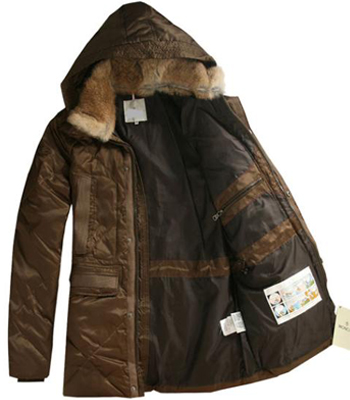 Moncler Men Jackets Brown Fur Collar