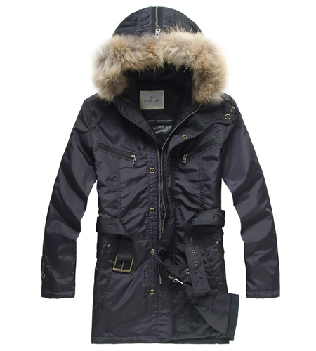 Moncler Men's Coat Dark Blue Belt
