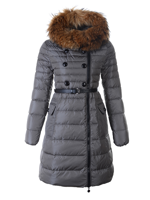 Moncler Coat Long Down Coat Herisson Fur Collar