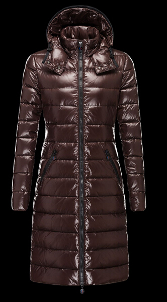 Moncler Moka Long Hooded Down Jacket Brown
