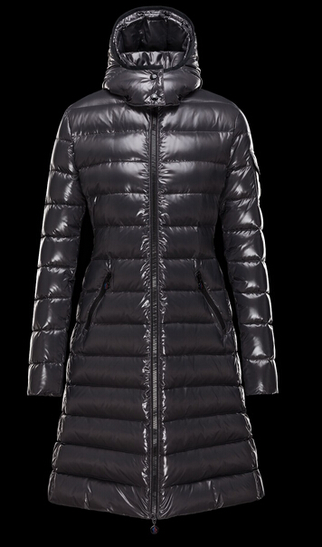 Moncler Coat Moka Long Hooded Down Jacket Gray